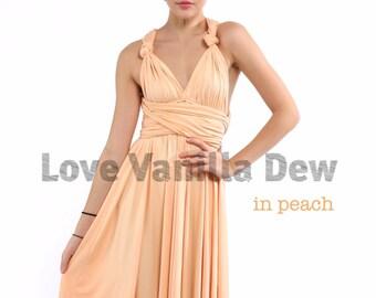 Bridesmaid Dress Infinity Dress Straight Hem Peach Knee Length Wrap Convertible Dress Wedding Dress