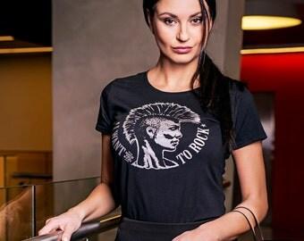 Women Punk Rock T-shirt RockYouBaby with a Mohawk - Women/Black/Silver