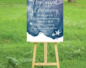The LAUREN . Unplugged Nautical Wedding Sign . PRINT or PDF, Shipping Included. Calligraphy Watercolor . Navy Purple Silver Anchor Beach