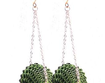 Green Boho Earrings / Paper Bead Jewelry, 1st Anniversary Gift / Dangle Earrings / Lightweight Paper Earrings, Long Earrings, Gift for Mom