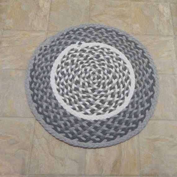 Braided Rug Upcycled Tshirt Rug Grey Rug Kitchen Rug By