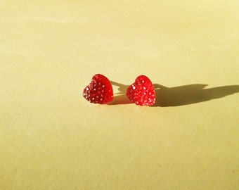 Ruby Red Heart Earrings, Small Heart Studs, Romantic Jewellery, Valentines Gift, Kitsch Jewelry, Cute Heart Accessories, Shimmery Studs