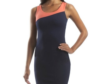 Navy and Coral Sleeveless Color Block Dress
