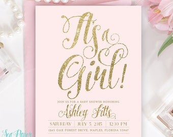 "Baby Girl Shower Invitation - Ava Blush Pink & Gold Glitter ""it's A Girl"" Invite - Printed Or Digital - Light Pink Pastel Party Invite"