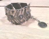 Turkish Chevron bracelet - Boho antique silver, coin bracelet, Tribal, gypsy, child of wild, free people, indian afghan turkish bracelet