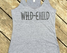 Wild Child Tri-Blend Tank, Women's Country Lifestyle Apparel Tank T-Shirt Southern Clothing, Country Sayings Shirt