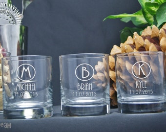 Etched Rocks Glasses / Personalized Groomsmen Gifts / Whiskey Glass / Custom Wedding Glasses / Set of 4 / 16 Designs!