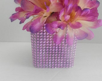 Wedding centerpiece, Rhinestone centerpiece,Pink rhinestone centerpiece, Glass vase centerpiece, Pink candle holder, Square candle holder