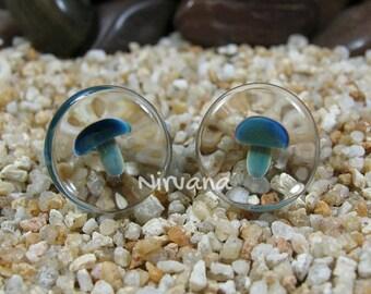 "Exotic Dark Blue Mushroom Plugs Glass 4g 2g 0g 00g 7/16"" 1/2"" 9/16"" 5/8"" 3/4"" 1"" 5 mm 6 mm 8 mm 10 mm 12 mm 14 mm 16 mm 18 mm 20 mm 25 mm"