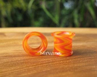 "Zig Zag Red/Orange/Yellow Tunnels Pyrex Glass 6g 4g 2g 0G 00g 7/16"" 1/2"" 9/16"" 5/8"" 4 mm 5 mm 6 mm 8 mm 10 mm 12 mm up to 1"" (25.4 mm)"