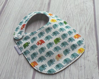 Elephant Bib / Gender Neutral Baby / Side Snap Bib / Drool Bib / Organic Cotton Fleece / Elephants