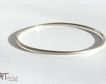 Solid Gold Bangle Bracelet , 14K solid white gold bangle bracelet.