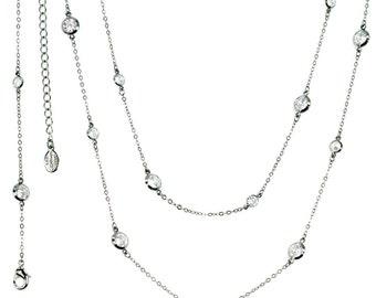 Station Necklace, CZ Necklace, Crystal Necklace, Long Necklace, Layered Necklace, Delicate Necklace, Dainty Necklace, Diamond Necklace N1305