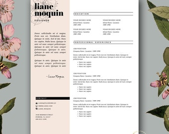 professional resume template and cover letter template for ms word 3 page feminine resume template