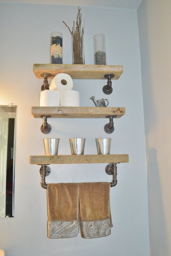 Barn Wood Shelves ~ Reclaimed barn wood bathroom shelves