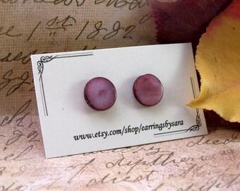 Small Flat Pink Earrings