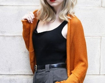 Knitted Cardigan, Shrug, Batwing Shape, Merino Wool Long Sleeved Hand-Crafted, Golden Syrup, Deep Mustard, Marmalade, Tangerine, Gold