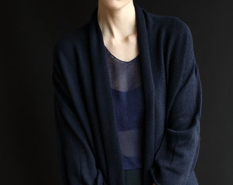 Merino Wool Hand-Made Knitted Kimono Cardigan, Open Sweater, Wrap, Cover-Up, Mid-Hip Length, Navy, Shawl Collar, Three-Quarter Sleeves