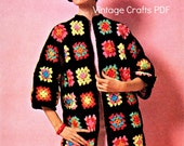 Instant Download The Boho Granny Square Coat 1960s Crochet Pattern Easy Crochet Pattern Festival Coat Hippie Sweater Jacket Clothing