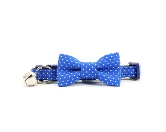 Blue Cat Bow Tie Collar White Polka Dot Bowtie Breakaway Safety with Bell - Casey
