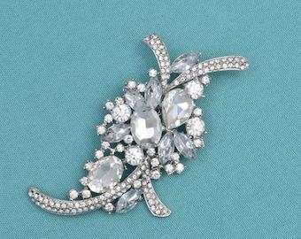 Rhinestone Wedding Brooch Silver Brooch Rhinestone Bridal Brooch Wedding Accessories DIY Supplies Bouquet Brooch