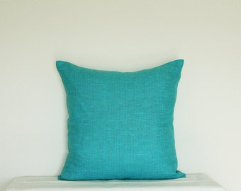 Decorative Bright Teal Blue Pillow - Turquoise Pillow Cover - Turquoise / Teal Throw Pillow, Modern Spring Home decor by Linen Mile