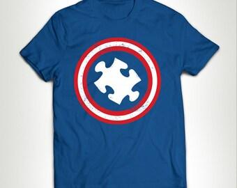 Captain Autism Vintage Puzzle Piece Shield T-shirt Tee shirt Tee Autistic Support Educate Advocate Love Autism Awareness Month April  MB543