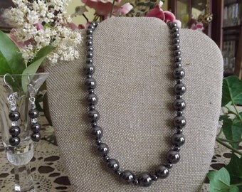 Hematite Bead Necklace and Earring Set