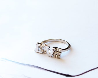 Silver LOVE Ring Stack Band Ring Diamond Ring Letter Band Open Ring Knuckle Ring Adjustable Ring Wedding Anniversary Bridal Ring Jewelry