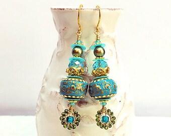 Aqua, Green and Gold Earrings, Artisan Beaded Earrings, Mermaid Jewels