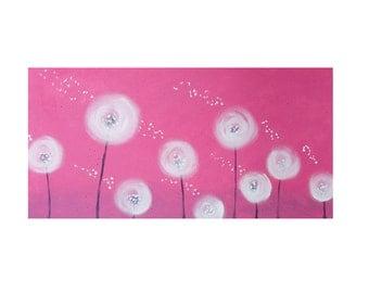 Dandelion Painting-Dandelion Art-Nursery Wall Art-Nursery Decor -Whimsical Painting -Kids Room Art -Pink Nursery-Rose Nursery-Personalize