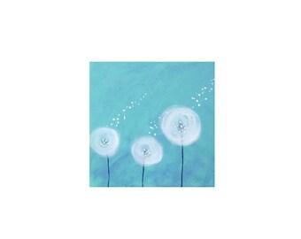 Dandelion Painting-Dandelion Art-Nursery Wall Art-Nursery Decor -Whimsical Painting-Nursery Art-Spring Blue -Personalize-12x12