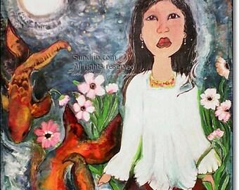 Japanese Koi Wall Art Falling Star Wall Decor Fairytail Koi Goldfish Midnight Blue Constellations Reeds Pink Flowers Beautiful Color
