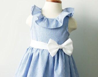Seersucker Navy and White Flower Girl Dress
