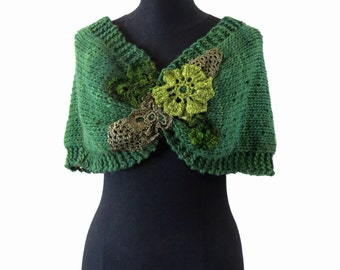 NIDO - handknitting and crochet lace cover shoulders wrap poncho twisted mobius cowl - in green - Ready to ship!