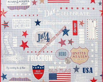 "Riley Blake ""Stars & Stripes"" Patriotic Flag Sayings Words Cotton Fabric 1/2 Yd. 18"" x 44"""