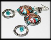 Südwesten... Handgefertigte Perlen Schmuck Ohrringe Fimo Perlen Türkis Terra Cotta Kupfer Orange Silber Wirbel Spirale Crystal Lightweight