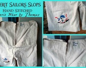 Pirate Pants, Pyerit Wear by Thomas, Hand stitched, embroidered, skull crossbones, inspired by old naval sailor slops