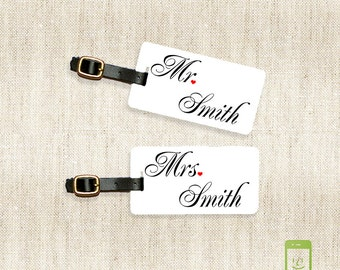 Mr and Mrs Custom Last Name Luggage Tag Metal Tags Set ,  Personalized Front Printed Address, Quote or Message on Back 2 Tags w Straps