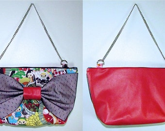 BIG BOW PURSE- Kawaii Geisha Wonderland**handmade**
