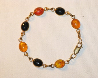 Vintage Van Dell Amber and Onyx Gold Filled Link Bracelet (BR-1-5)