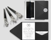 Real Glitter Silver or Gold Whimsical Wedding Invitation Set - DEPOSIT