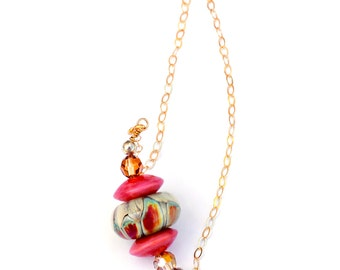 Artisan Lampwork Bead Necklace. Coral Turquoise Necklace. Bohemian Necklace. Glass Bead Jewelry.