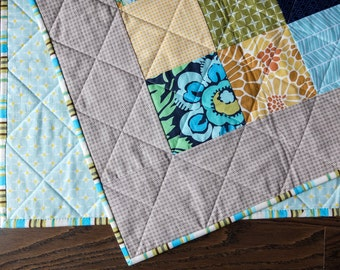 SALE Simple Squares Baby Boy Quilt / baby blanket crib quilt play mat blue green yellow modern patchwork baby bedding baby shower gift