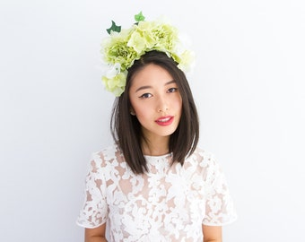 green peony statement flower crown headband // wedding bridal headpiece, quirky, garden party, summer, festival, spring.