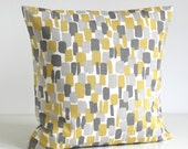 Scandinavian Pillow Cover, 16 Inch Pillow Sham, 16x16 Cushion Cover - Scandi Blocks Mustard