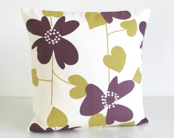 16x16 Cushion Cover, Purple Pillow Cover, 16x16 Pillow Sham, 16 Inch Pillowcase, slip cover, accent pillow cover - Nordic Bloom Aubergine