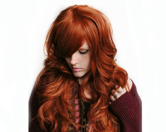 Auburn wig | Red wig, curly red wig, scene wig | Auburn Red Hair | Natural Boho Indie Hair | Autumn Darling