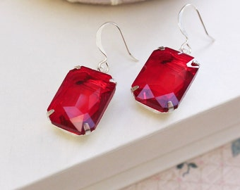 Red Glass Earrings Ruby Red Rhinestone Earrings White Silver Jewellery Christmas Gift Old Hollywood Glam Siam Red Sparkling Jewel Drops