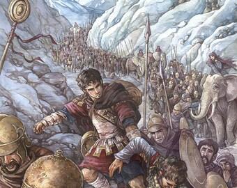 Hannibal - Across the wild Alps - A3 print
